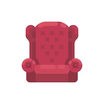 Sillón rojo de santa claus ilustración. acogedor mueble plano icono