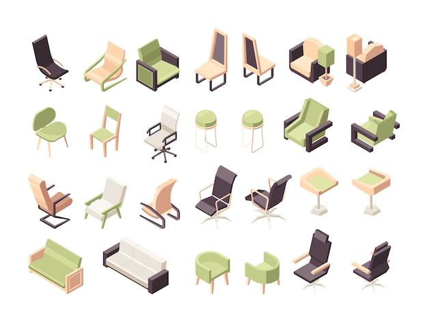Sillones isométricos. objetos de colección de sillas de polietileno moderno muebles de oficina