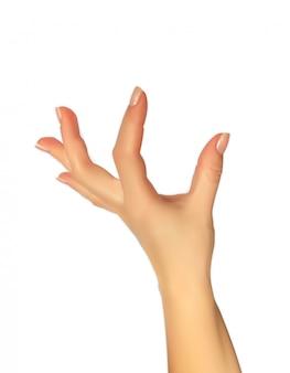 Silueta 3d realista de la mano que muestra el tamaño de sus dedos, la capacidad de insertar algo