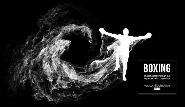 Silueta abstracta de un boxeador sobre fondo negro