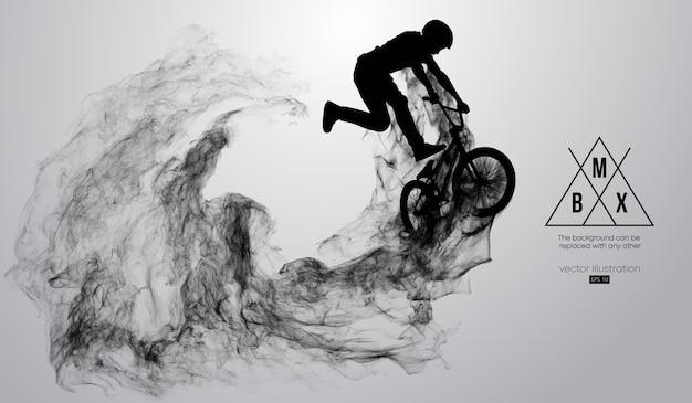 Silueta abstracta de un ciclista de bmx sobre fondo blanco.