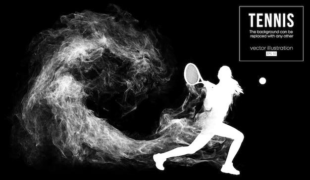 Silueta abstracta de una ilustración de mujer de jugador de tenis