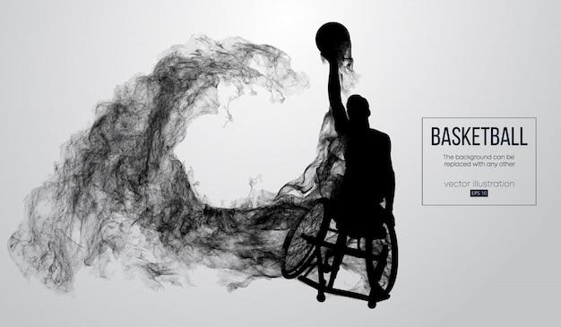 Silueta abstracta de un jugador de baloncesto discapacitado sobre fondo blanco de partículas, polvo, humo, vapor. el jugador de baloncesto realiza lanzar una pelota.