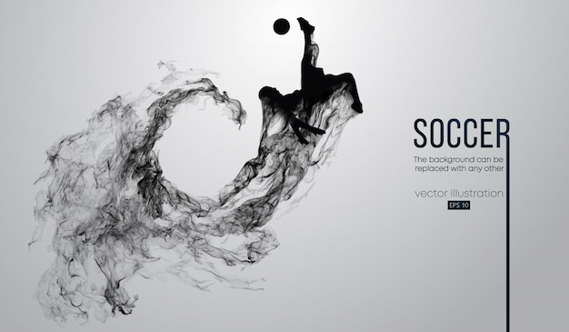 Silueta abstracta de un jugador de fútbol sobre fondo negro oscuro de partículas. jugador de fútbol corriendo saltando con pelota. liga mundial y europea.
