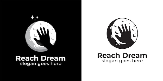 Silueta alcanzando el sueño con diseño de logotipo de luna estilo blanco y negro
