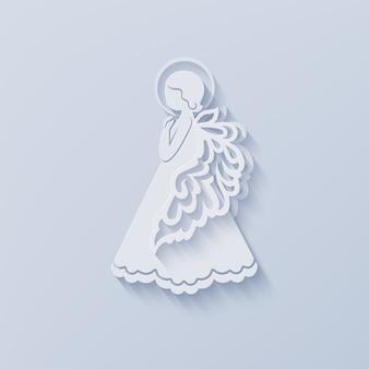 Silueta de ángel en estilo de corte de papel con sombra.
