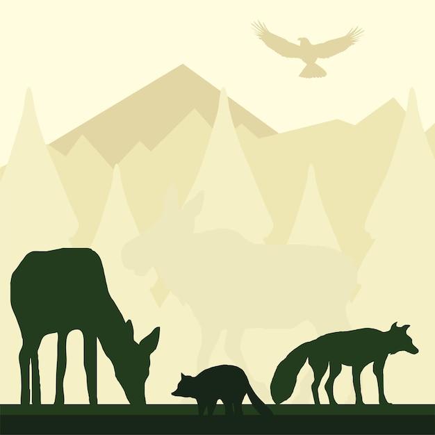 Silueta animales montañas