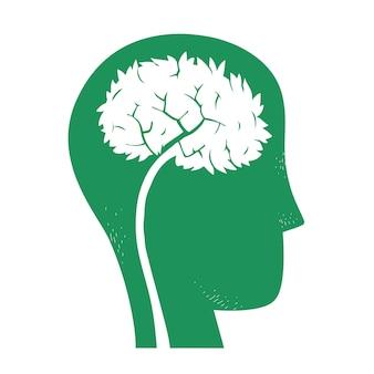 Silueta de árbol dentro de ilustración de cabeza humana