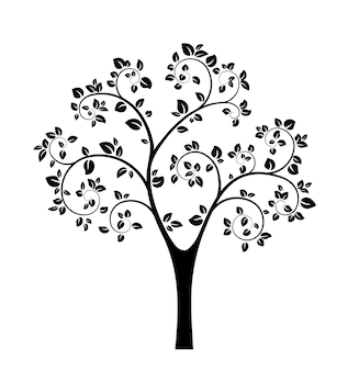 Silueta de árbol negro aislado