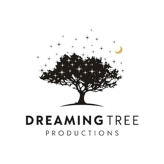 Silueta de árbol en la noche con estrellas y diseño de logotipo de luna creciente
