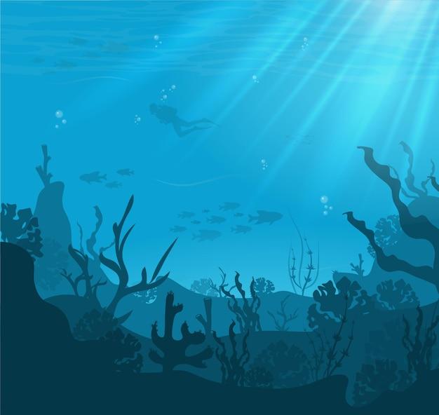 Silueta de arrecife de coral con peces y buzo sobre un fondo azul del mar