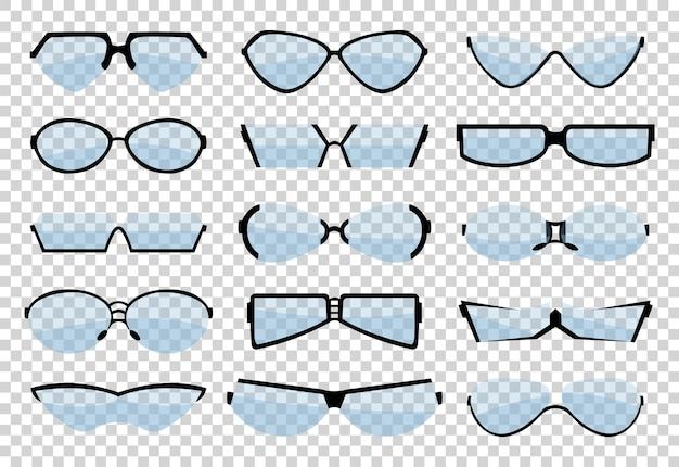 Silueta de arte de línea de gafas, gafas y accesorio óptico. conjunto ocular médico clásico.