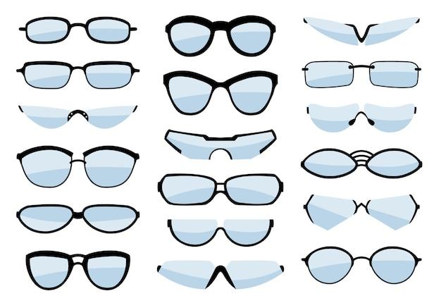 Silueta de arte de línea de gafas, gafas y accesorio óptico.