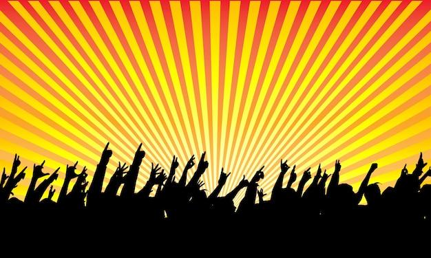 Silueta de una audiencia rock