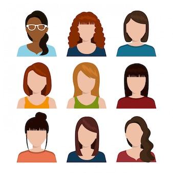 Silueta de avatar de jóvenes