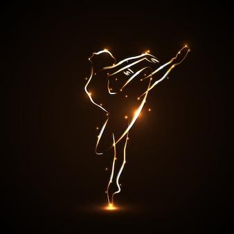 Silueta de bailarina, bailarines en movimiento en pointe y tutú. dibujado a mano con trazos de color dorado con luz sobre fondo negro. ambos brazos y una pierna levantados. icono.