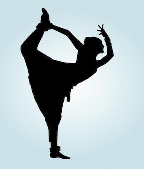 Silueta de bailarina india posando