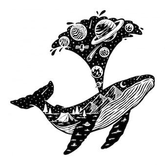 Silueta de ballena e ilustración de paisaje natural