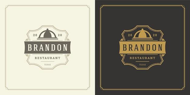 La silueta de la bandeja del plato del ejemplo del logotipo del restaurante es buena para el menú del restaurante y la insignia de la cafetería.
