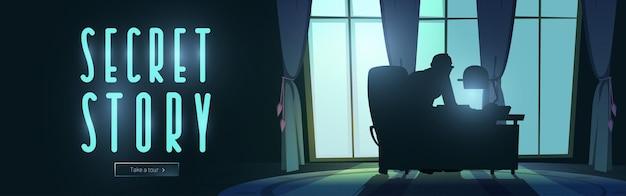 Silueta de banner web de dibujos animados de historia secreta de hombre