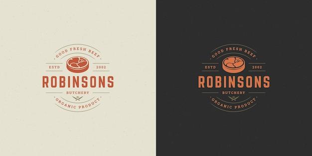 Silueta de bistec de carne de ilustración de vector de logotipo de carnicería buena para insignia de granja o restaurante