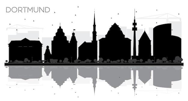 Silueta en blanco y negro del horizonte de la ciudad de dortmund alemania con reflejos ilustración vectorial