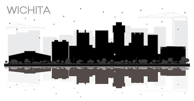 Silueta en blanco y negro del horizonte de la ciudad de wichita kansas estados unidos. ilustración vectorial. concepto de viajes de negocios. paisaje urbano de wichita con hitos.