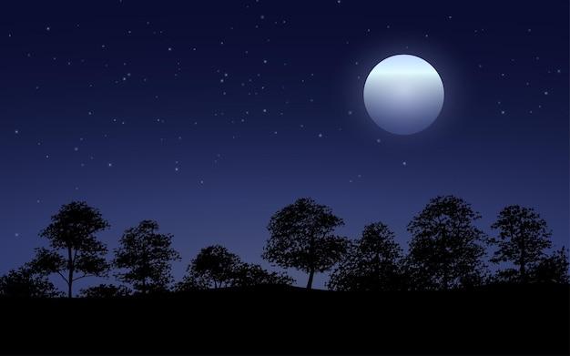 Silueta, de, bosque, noche, con, luna, y, estrellas