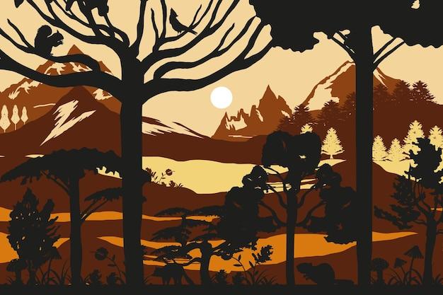 Silueta bosque pico árboles de montaña