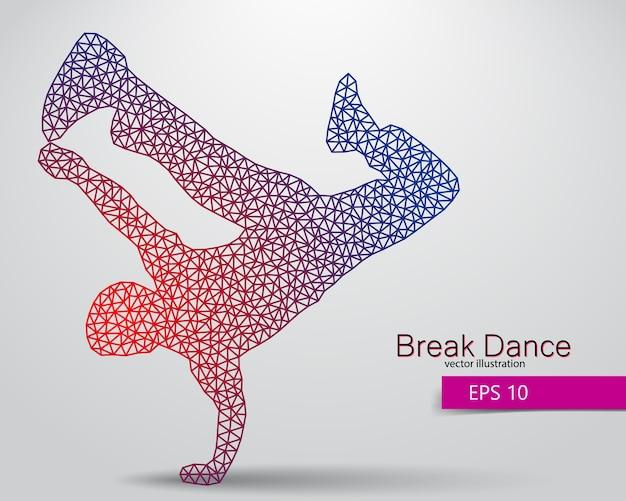 Silueta, de, un, break dancer
