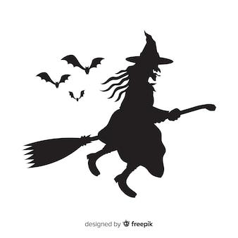 Silueta de bruja de halloween
