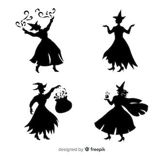 Silueta de una bruja de halloween