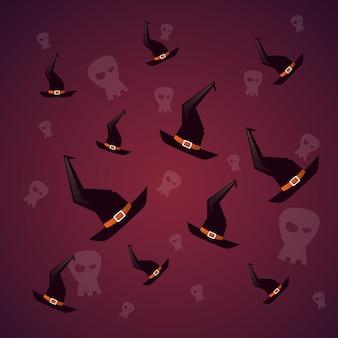 Silueta bruja sombreros y calavera feliz halloween. decoración de fiesta de terror