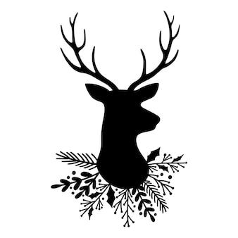 Silueta de cabeza de ciervo y astas y corona de hojas ilustración de vector de reno de navidad