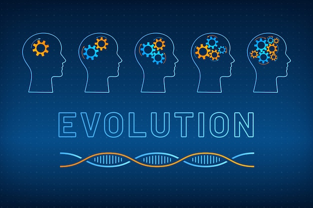 Silueta de cabeza con engranaje cerebro evolución concepto ilustración