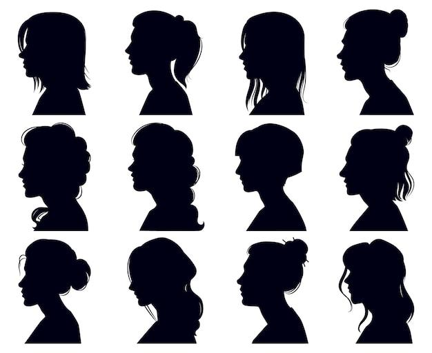 Silueta de cabeza femenina. rostros de mujeres retratos de perfil, personajes anónimos femeninos adultos enfrentan siluetas