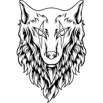 Silueta de cabeza de lobo