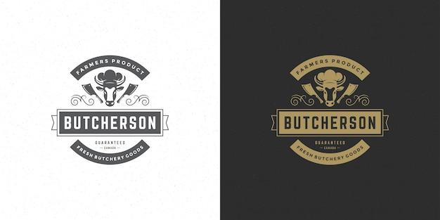 Silueta de cabeza de vaca con logotipo de carnicería buena para insignia de granja o restaurante