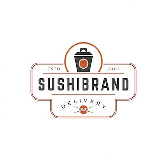 Silueta de caja de fideos japoneses de plantilla de logotipo de tienda de sushi con ilustración de vector de tipografía retro