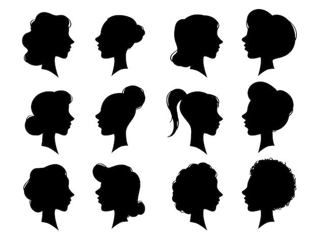 Silueta de caras laterales vintage de mujer adulta y joven