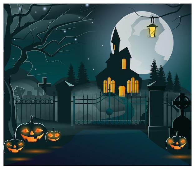 Silueta de la casa oscura con luces en la ilustración de las ventanas