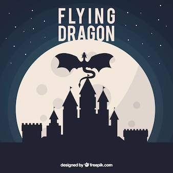 Silueta de castillo con dragón volando