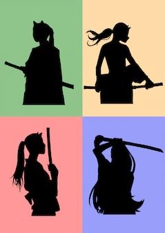 Silueta de chicas samurai enmascaradas