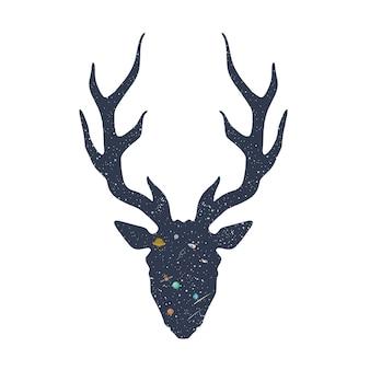 Silueta de ciervo con ilustración de espacio