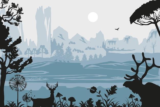 Silueta ciervos aves árboles paisaje Vector Premium