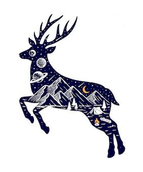 Silueta de ciervos y naturaleza ilustración