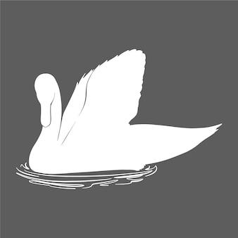 Silueta de cisne nadando