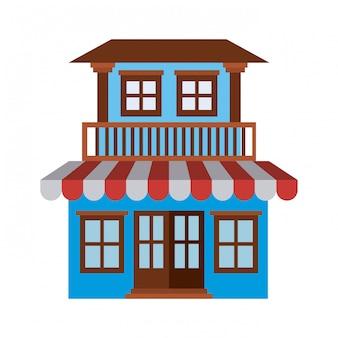 Silueta en color claro de la casa de fachada con dos pisos con balcón y toldo.