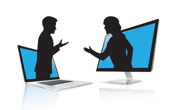Silueta de comunicación empresarial