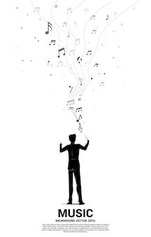 Silueta de conductor de pie con nota musical voladora. antecedentes del concepto de recreación y concierto de orquesta.
